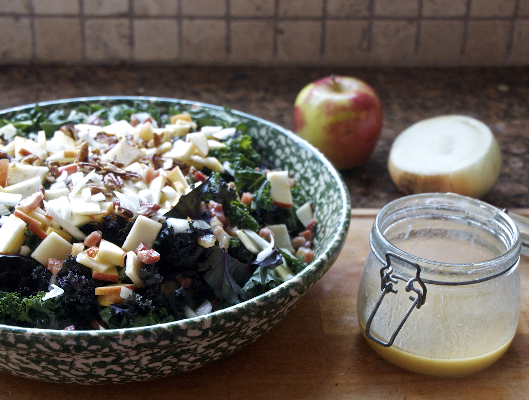 Kale and Apple Salad with Bacon and Pecans - Sass & Veracity