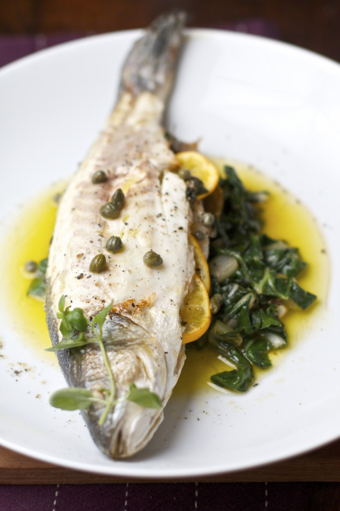 Roasted branzino with lemon oregano and capers sass for Branzino fish recipes