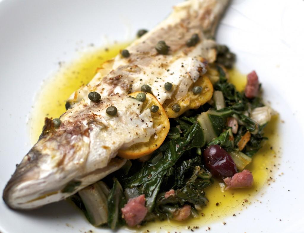 Roasted branzino with lemon oregano and capers sass for What is branzino fish